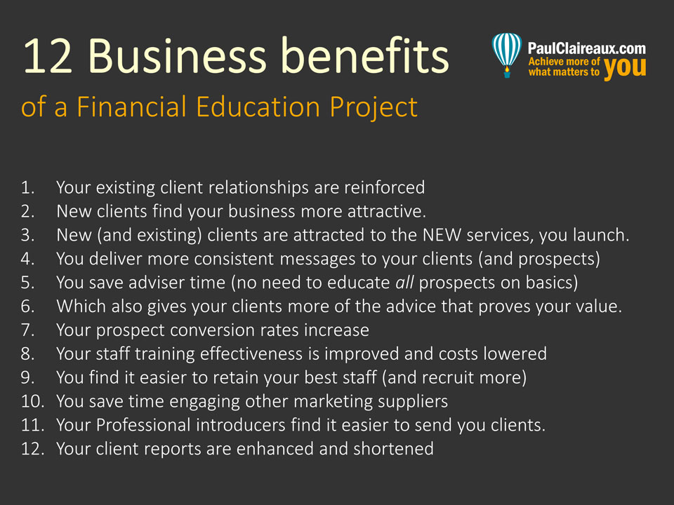 12 Benefits of a Financial Education Project