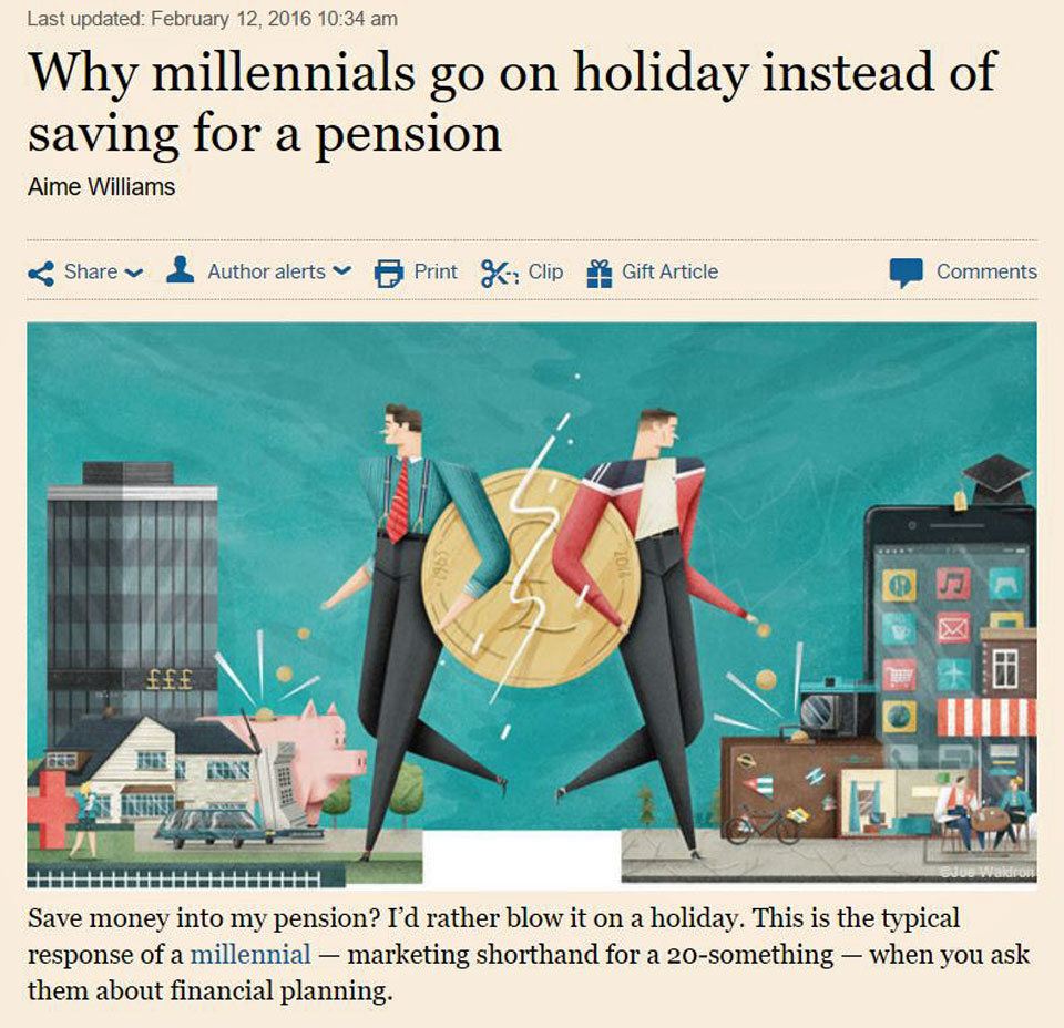 Millennials on holiday vs pension