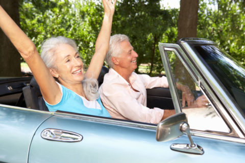 Older couple in car