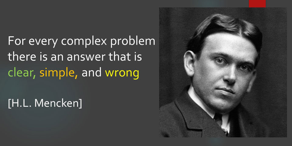 Mencken. Clear, simple and wrong