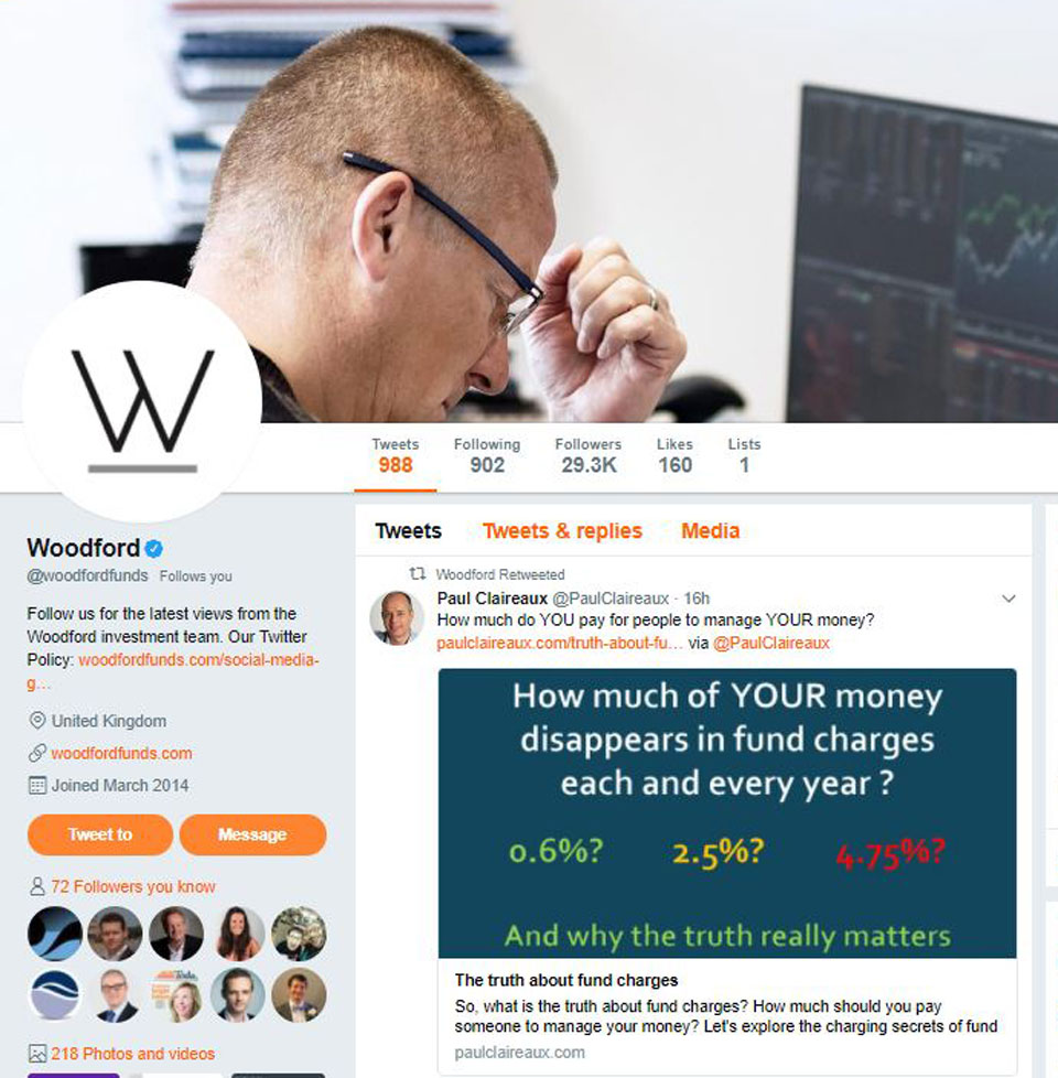 Woodford Tweets my article