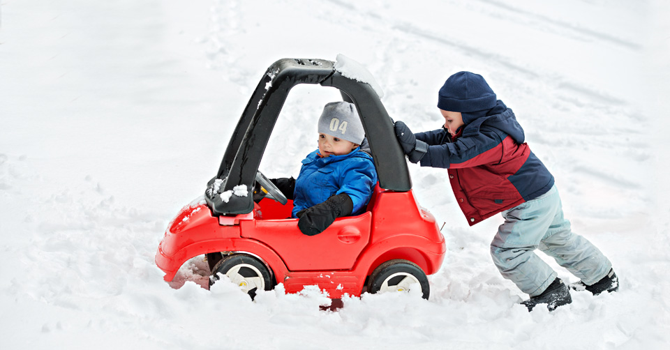 kids stuck in the snow