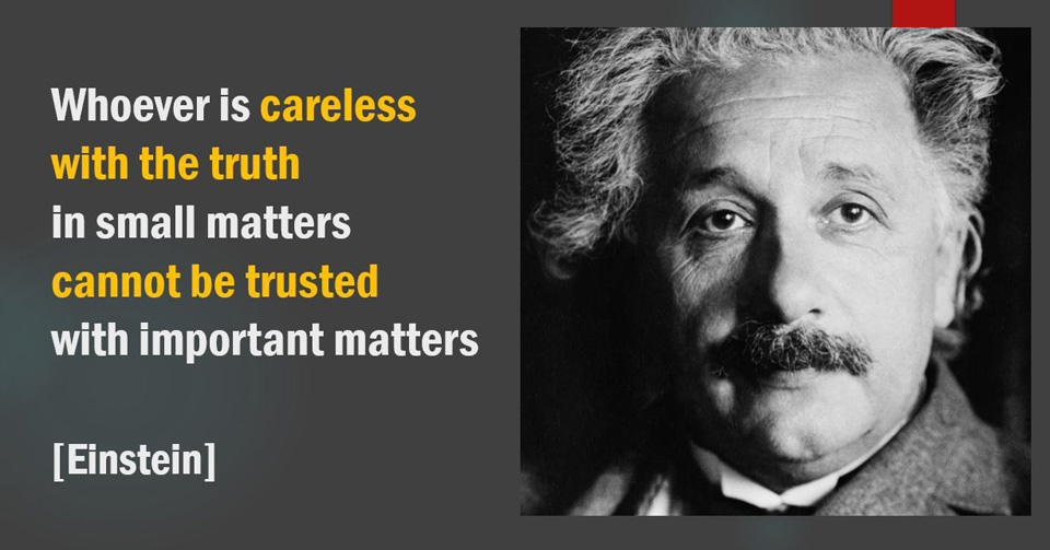 Einstein. Careless with the truth